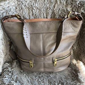 Oryany Grey Leather Side-Zip Bucket Bag